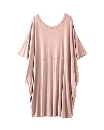 Damen Übergröße T-Shirt Kleider Sommerkleid Nachtwäsche Nachthemd Helle Kaki