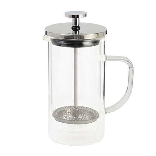 ProCook Kaffeebereiter aus Glas | doppelwandig | Thermo - isoliert| groß| mit Stay Cool Griff und Glas | French Press | 8Tassen/1l -