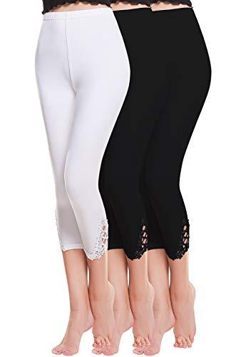 Stretch Casual Pant (Vertvie damen 3/4 Länge Leggings mit Spitzenabschluß Hollow mit strass casual Modal Caprihose Strumphosen Stretch pants Einheitsgröße (One Size, 2 Schwarz +1 Weiß))