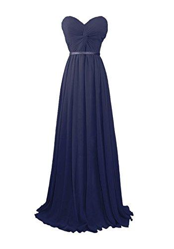 Fanciest Women's Sweetheart Chiffon Bridesmaid Dresses Long Prom Evening Gowns Navy Blue