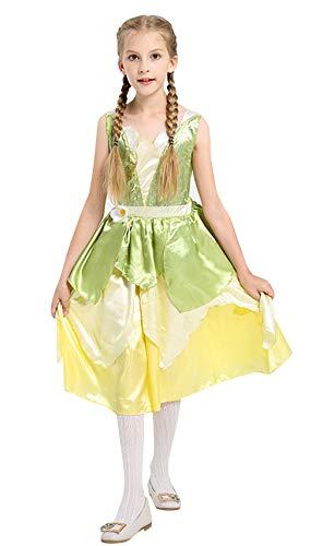 Cloud Kids Mädchen Blumenfee Cosplay Kostüm Halloween Prinzessin Kleid Karneval Verkleidung Partei Kleider Grün Körpergröße 110-120cm (Tanzabend Kostüm Kid)