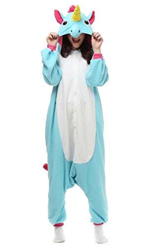 Pyjamas Licorne, Adulte Unisexe Anime Kigurumi Onesies Deguisement Animaux Siamois Romper Pajamas Vêtements Bleu