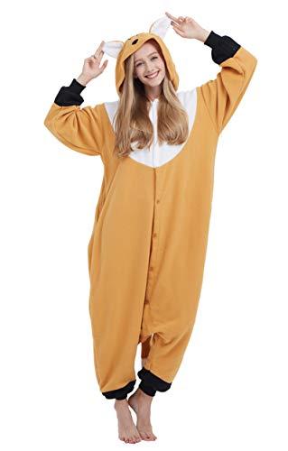 Kigurumi Pijama Animal Entero Unisex para Adultos con Capucha Cosplay Pyjamas Zorro Ropa de Dormir Traje de Disfraz para Festival de Carnaval Halloween Navidad