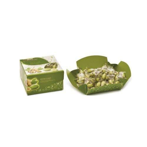 Confetti MAXTRIS incartati vassoio eventi cadeaux PISTACCHIO verde 500 gr Mandorla tostata avvolta da uno strato di cioccolato bianco al gusto di pistacchio, ricoperto da un sottile strato di zucchero.
