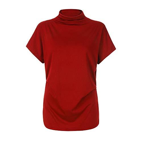 Damen Plus Größen-T-Shirts MEIbax Damen Plus Size T-Shirts Kurzarm Hoher Kragen Lose Tops Damen Shirts SommerDamen Bluse Chiffon Elegant V-Ausschnitt