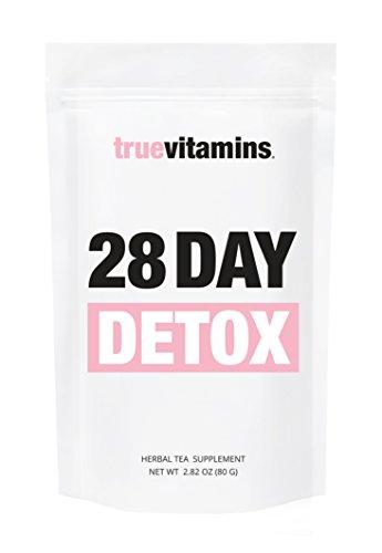 28 DAY DETOX Tee - Stoffwechsel anregen & Körper entgiften - Wohlschmeckende Detox-Kur für 28 Tage / Gesund abnehmen & entschlacken mit Truevitamins - unterstützt Fasten-Kur + Stoffwechseldiät