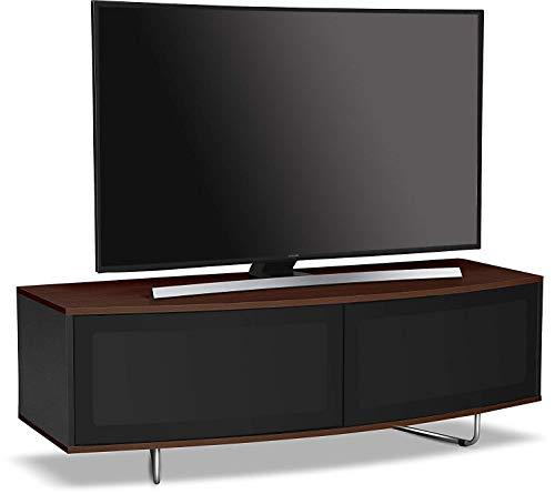 Centurion Supports Caru TV-Schrank, glänzend, Schwarz und Walnussholz, ferngesteuert, sehr modern, D-Form, 81,3-165,9 cm (32-65 Zoll), LED/OLED/LCD Walnut Walnut Black
