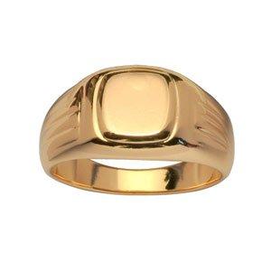 1001 Bijoux - Chevalière plaqué or moyen plateau cadre à godrons - tour de doigt 69