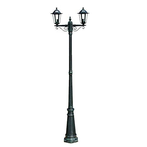 vidaxl lampione con 2 lanterne per giardino vialetto luce lampada da esterno