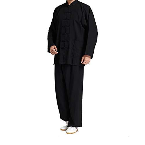 Chinesischen Männer Kostüm Alten - ZZUU Chinesische Alte Traditionelle Kostüme, Tai Chi Kung Fu Uniform Morgen Übung Langärmeliges,Leinen Männer Und Frauen,Black,XL