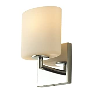 Alico Industries BV8T1-10-15-R Chelsea Collection 1-Light Vanity Sconce, Chrome Finish with White Opal Glass by Alico Industries