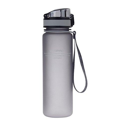 Uzspace Sporthallen Schulen Tritan Wasserflasche Bpa-Frei Wandern Radwandern Wasserflasche Mit Flip-Top Deckel - grau - 650ML