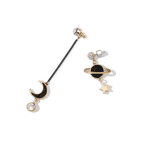 Asymmetrische Ohrringe 925 Silber Nadel Einfache Sterne und Mond Planet Ohrringe verhindern Allergie baumeln Ohrstecker Asymmetrische lange Ohrringe Schmuck Ohrringe für Frau Mädchen (Mädchen Silhouette Charme)