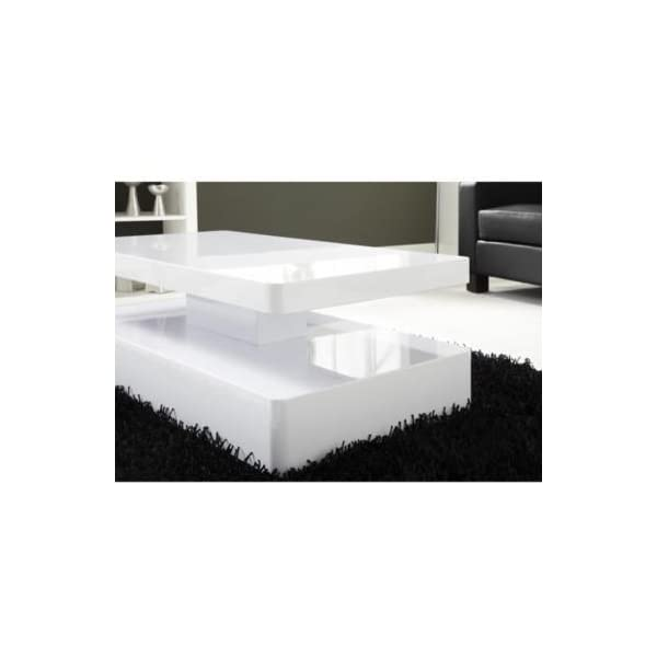 Tiffany White High Gloss Rectangular Coffee Table Led Lighting