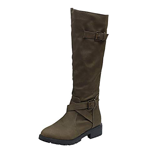 Boots Women Knee High Calf Biker Boots Ladies Zip Punk Military Combat Army Boots Size 5 Girls School Shoes Size 2