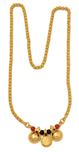 Radha's Creations 24-inch Length and Vati Tanmaniya 1g Gold Mangalsutra with Chain for Women