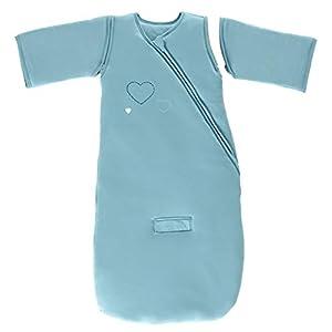 P'tit Basile – Mono de invierno con mangas desmontables, 100% algodón biológico (TOG 3), diseño con bordado de corazones azul azul turquesa Talla:0 a 6 meses