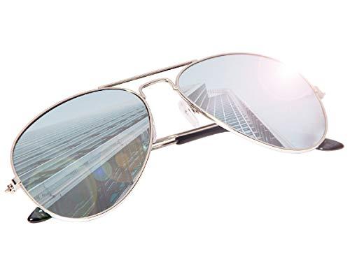Vintage Kostüm Pilot - 70er 80er Jahre Retro Alsino® Sonnenbrille Pornobrille Pilotenbrille Sonnenbrillen V-705 (silber/ verspiegelt)