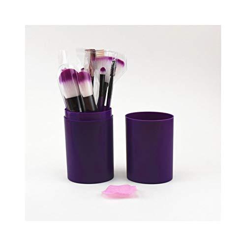Schminkpinsel Premium 12 Anfänger Trommel Make-up Pinsel Set Make-up Pinsel Full Set Staubdicht Großraum Fass Pinsel Make-up Werkzeug Beauty Make-up Pinsel (Größe : Purple) -