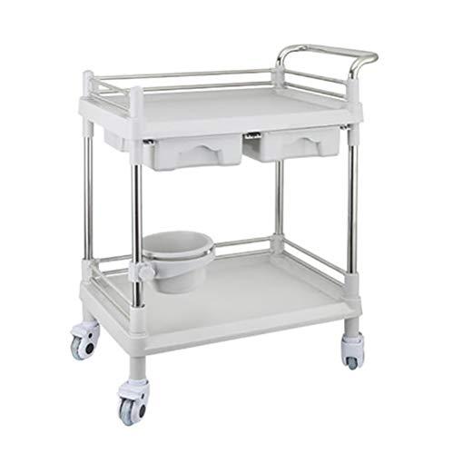 Salon Trolleys 2-stufiger SPA-Schönheitssalon Für Friseur, Medizinische Wagen Aus ABS Und Edelstahl, 64,5 × 44,5 × 90 cm, Grau (Farbe : Double Drawers)