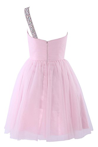 YiYaDawn Kurzes BallKleid mit Steinen One-Shoulder Kleid mit Steinen für Damen Fuchsia