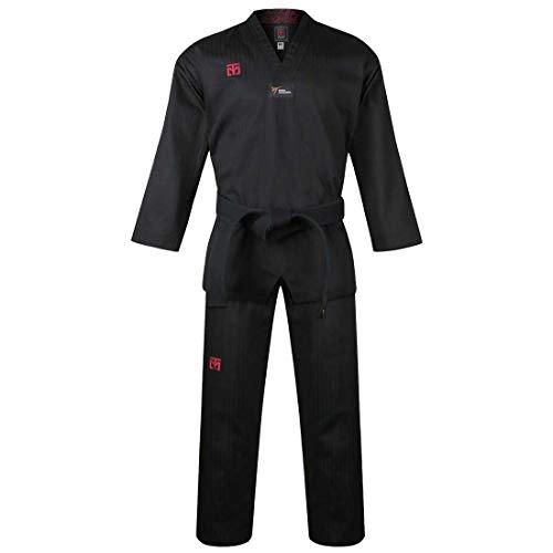 Mooto Korea Taekwondo BS4.5 Farbe Uniform 3 Farben (Schwarz, Rot, Blau) TKD MMA Kampfkunst Karate Hapkido Judo JIU-Jitsu (180(Höhe: 180~189cm)(5.90~6.20ft), 1. Schwarz)