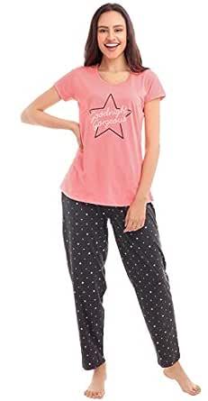 ZEYO Women's Cotton Pink Star Print Night Suit