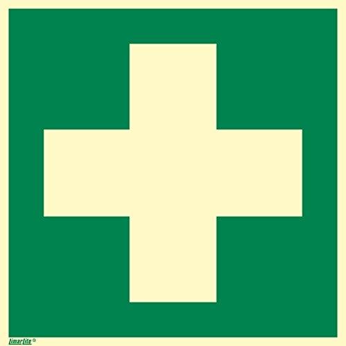 Rettungszeichen Schild, Erste Hilfe, Hart-PVC langnachleuchtend, 200 x 200 mm gemäß ASR A1.3/ISO 7010