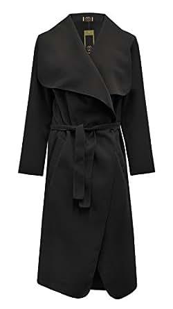 INDEX 2109 - Cardigan Femme Cape Veste Ouvert Cascade Long Stylé Manteau Chaud - Noir Cascade, Small