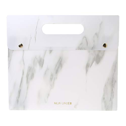 niumanery Portable Marble Pattern PP A4 File Folder Document Examination Paper Bag for Office School Students Supplies with Double Button -
