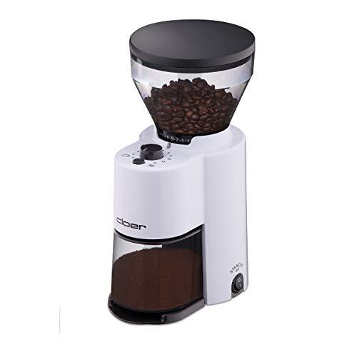 Cloer 7521 Elektrische Kaffeemühle mit Kegelmahlwerk für 2-12 Tassen und 300 g Kaffeebohnen, 150 W, verstellbarer Mahlgrad, weiß