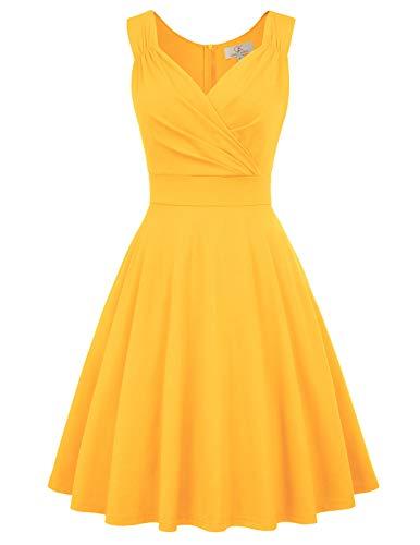 gelb Rockabilly Kleid Damen 1950er Kleid a Linie cocktailkleider trägerkleider CL698-8 2XL - Gelb Kleider Damen