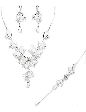 Schmuckanthony Best Seller Hochzeit Brautschmuck Silber Schmuckset Kette Armband Bracelet lange Ohrringe Netz...