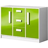 Kommode Sideboard GULIVER Kinderzimmer Jugendzimmer Möbel (weiß / grün hochglanz)