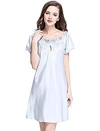 POachers Chemises de Nuit Femmes Satin, Femmes Pyjama, Luxe Lingerie Sexy Cou de Bateau Mini Robe Chemise Babydoll Chemise de Nuit