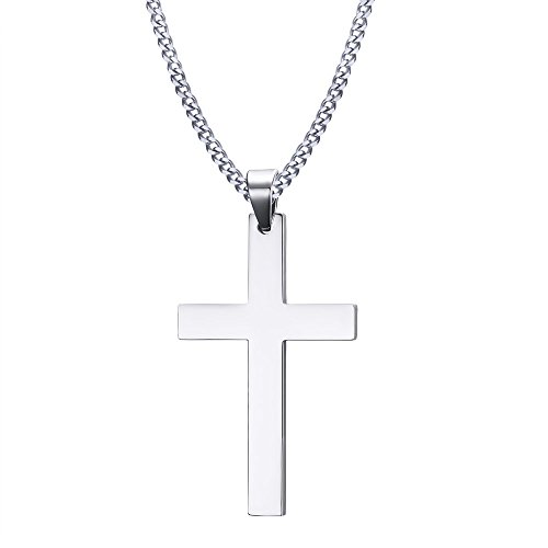 CARTER PAUL Herren Edelstahl 50MM Kreuz Anhänger Halskette Hochglanzpoliert, Silber