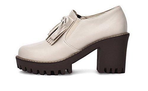 AgooLar Femme Rond à Talon Haut Matière Souple Couleur Unie Chaussures Légeres Beige