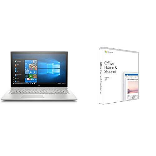 "HP ENVY 17-bw0010nl Notebook, i7-8550U, RAM 16 GB, SATA 1 TB, SSD 256 GB, 17.3"" FHD IPS, Argento nat + Microsoft Office Home & Student 2019"