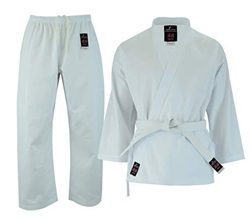 Malino Student Karate Gi, Anzug, Kinder und Erwachsene Männer einheitliche 100% Baumwolle 8oz freien Gürtel (2/150, Weiß) (Karate-gi Für Erwachsene)