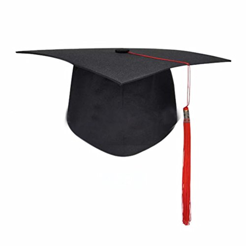 OULII Graduation Hut Cap mit Quaste einstellbare Erwachsene Schüler Dress Zubehör (rot)