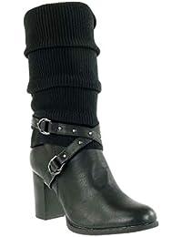 Mujer es Zapatos Para Cm 11 Tacon Ancho Amazon 8 Botas Negras vzBvdSn