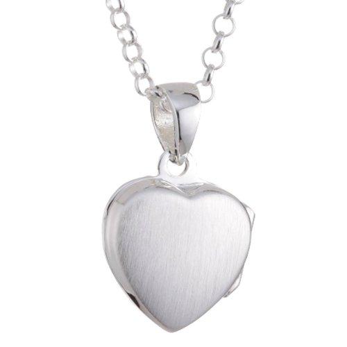 Vinani Anhänger Herz Medaillon zum Öffnen mattiert glänzend mit Erbskette 42 cm Sterling Silber 925 Kette Italien AHK-T42