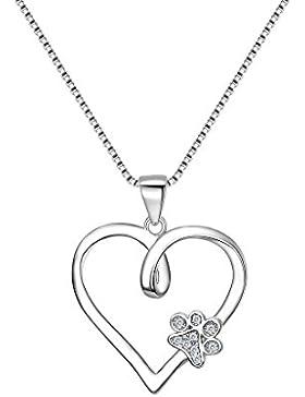 Fanze 925 Sterling Silber Cubic Zirconia Ewige Liebe Herz Cute Hund Prätze Anhänger Halskette