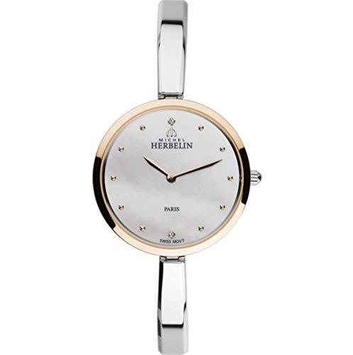 Michel Herbelin Unisex Erwachsene Analog Uhr mit Edelstahl Armband 17411/BTR19