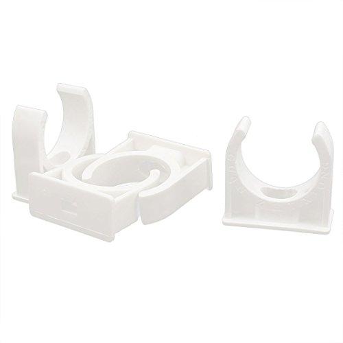 sourcingmap 4 Stück 31mm D. Weiß PVC Wasserversorgung Rohr Schlauchschellen Clips Fittings