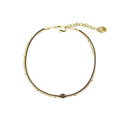 Bracelet Chaîne avec petite Boules en Plaqué Or - et Pierre naturelle sur cordon
