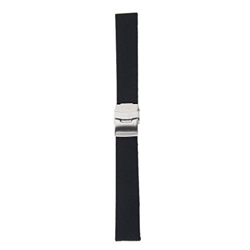 Silikon-Gummi Uhrenarmband Faltschließe Wasserdicht Uhrenband Gr. 20- 24 mm