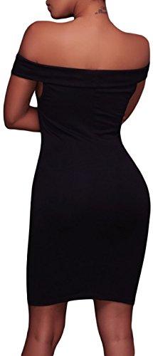 MYWY - Tubino aderente donna vestito elasticizzato abito elegante vestitino spalle nude Nero