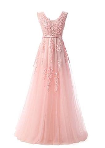 Eudolah Maxi Robe de soiree ceremonie en col V en tulle avec ornements et perles Femme 44 rose clair