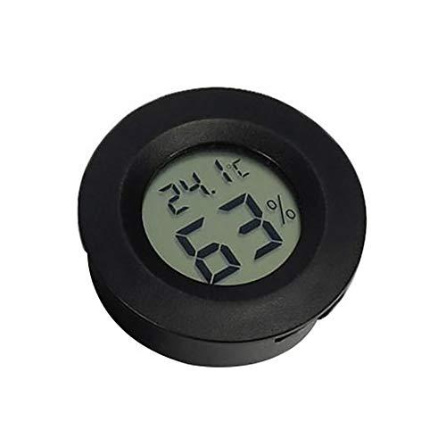 TLfyajJ Reptilien-Aquarium-Zuchtkäfig eingebettetes rundes digitales Thermometer-Hygrometer Schwarz -